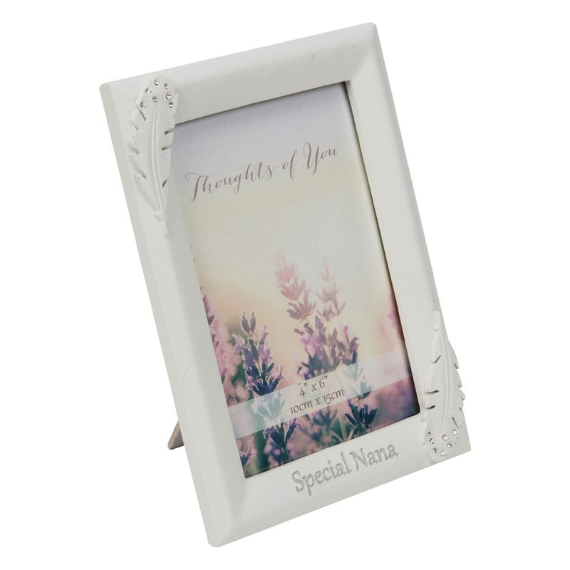 "4"" x 6"" - Thoughts of You Feather Frame with Crystals - Nan"
