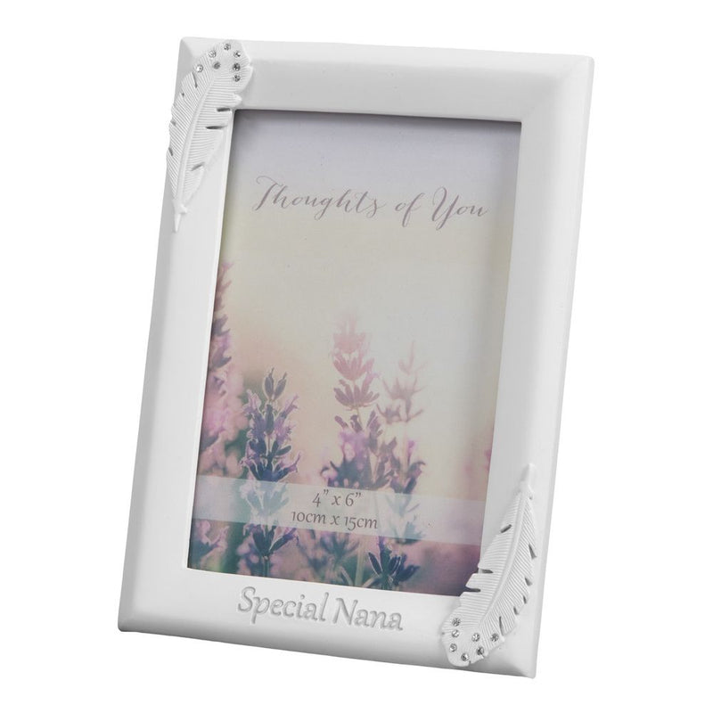 "4"" x 6"" - Thoughts of You Feather Frame with Crystals - Nana"