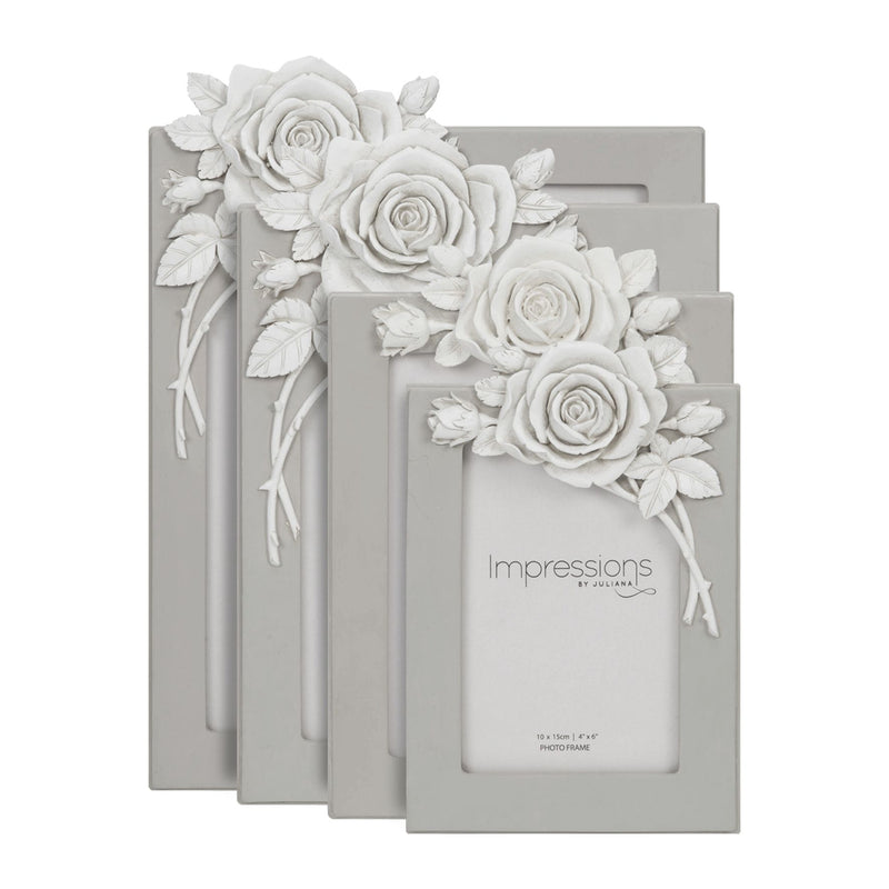 "4"" x 6"" - Impressions Grey Resin Photo Frame with Rose"