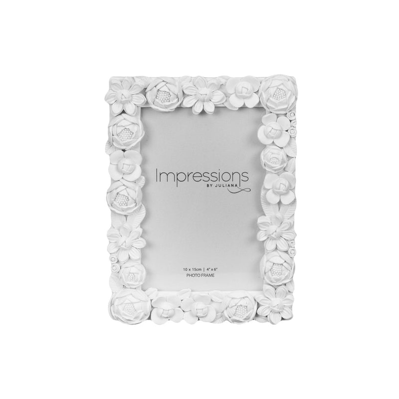 "4"" x 6"" - Impressions White Resin Floral Photo Frame"