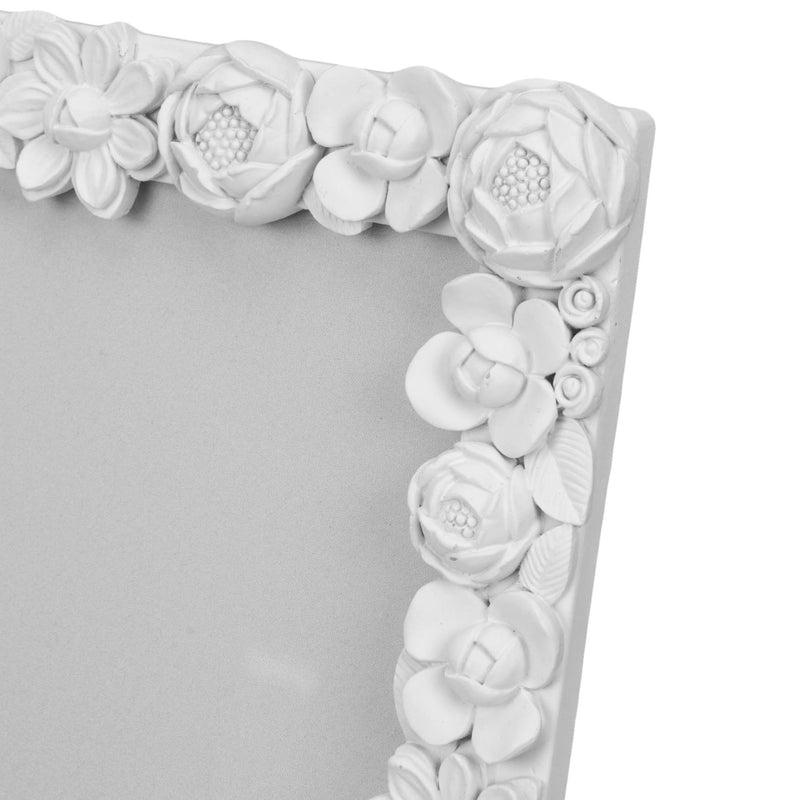 "5"" x 7"" - Impressions White Resin Floral Photo Frame"
