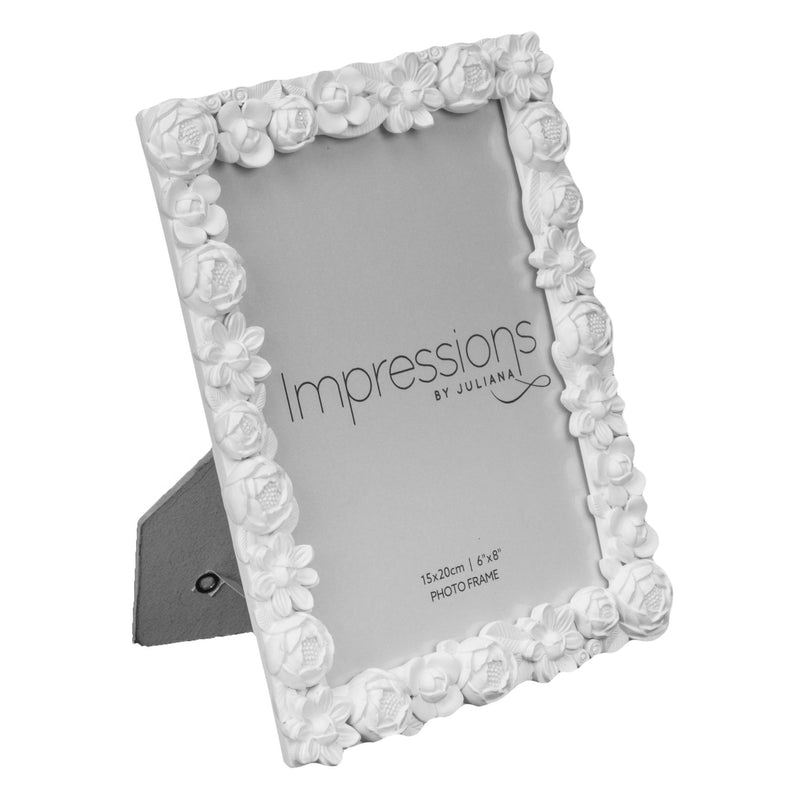 "6"" x 8"" - Impressions White Resin Floral Photo Frame"