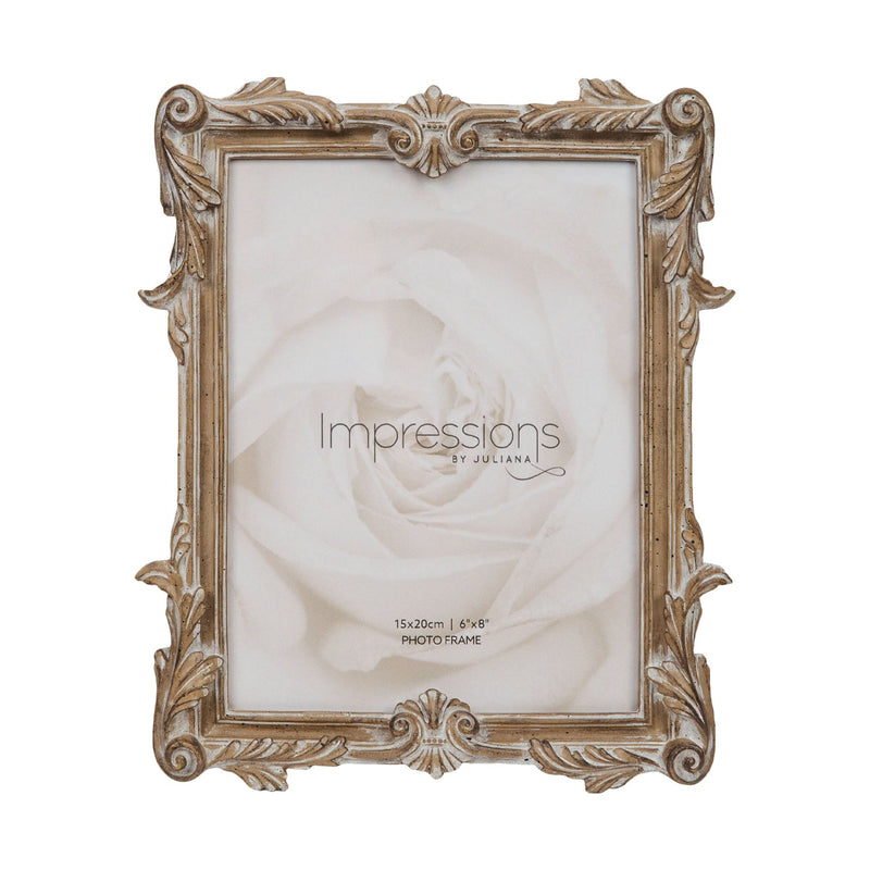 "6"" x 8"" - Impressions Antique Carved Wood Finish Photo Frame"