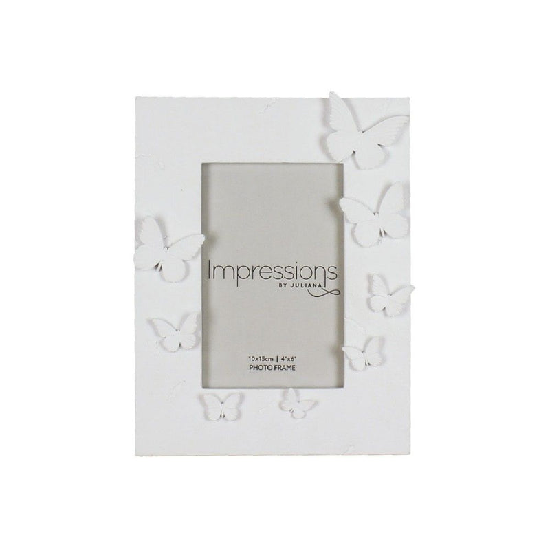 "4"" x 6"" - Impressions White Resin Butterfly Photo Frame"