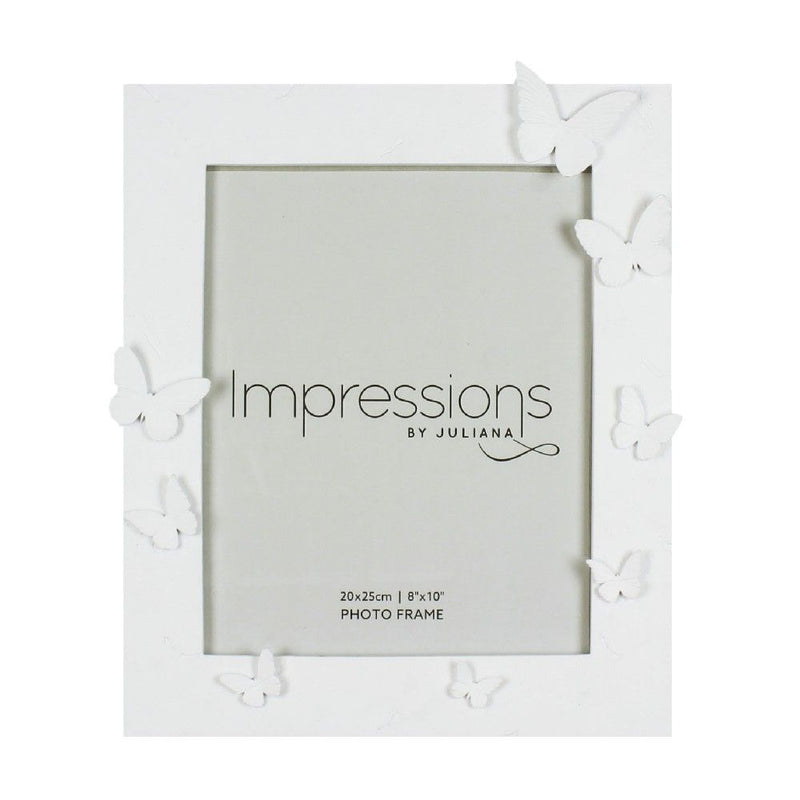 "8"" x 10"" - Impressions White Resin Butterfly Photo Frame"