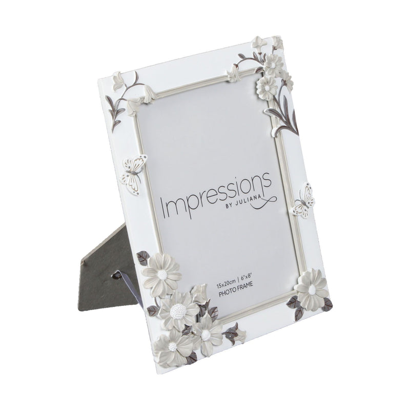 "6"" x 8"" - Impressions White Floral Resin Frame"