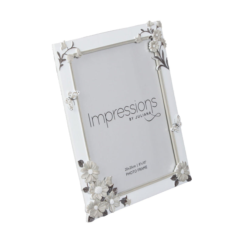 "8"" x 10"" - Impressions White Floral Resin Frame"
