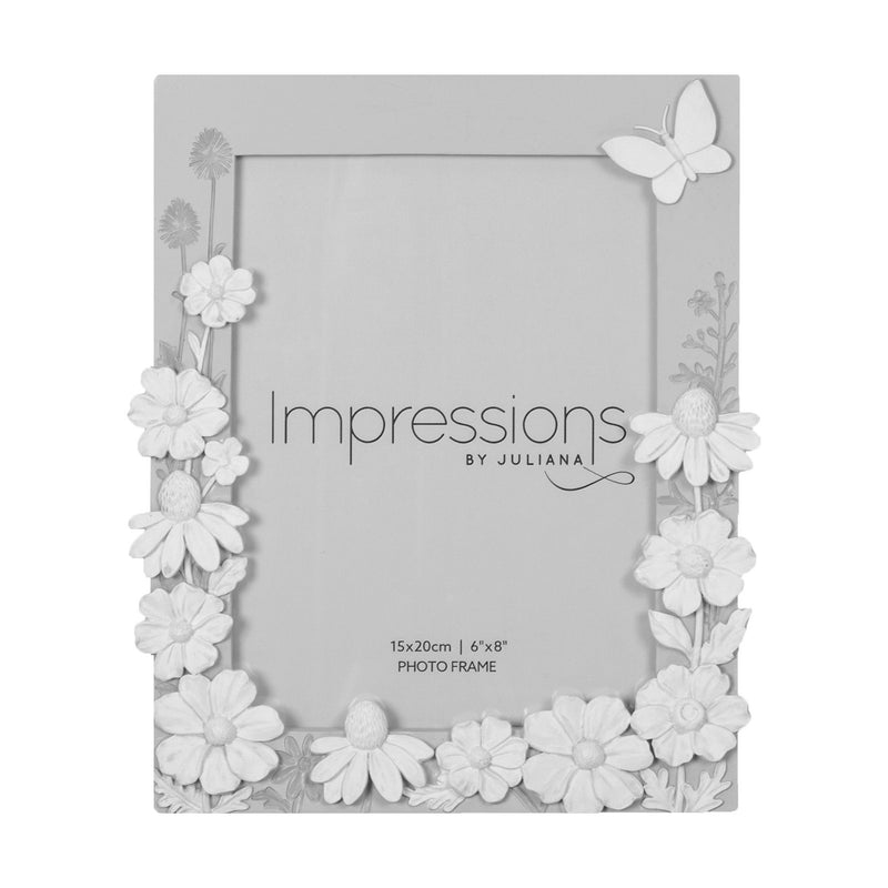 "6"" x 8"" - Impressions Grey Floral Resin Frame with Butterfly"