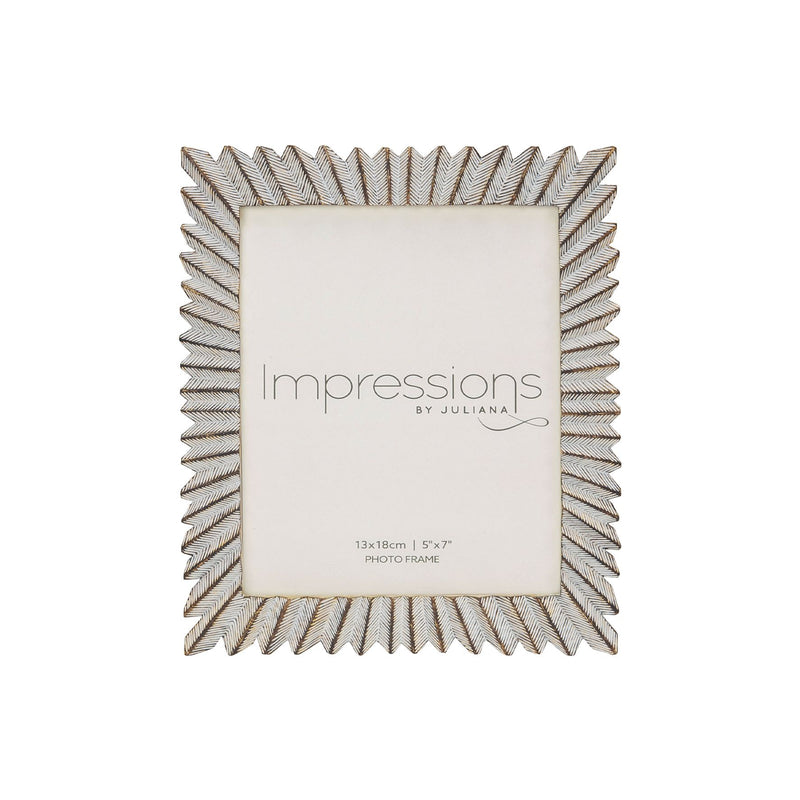 "5"" x 7"" - IMPRESSIONS® Sunburst White & Gold Resin Frame"