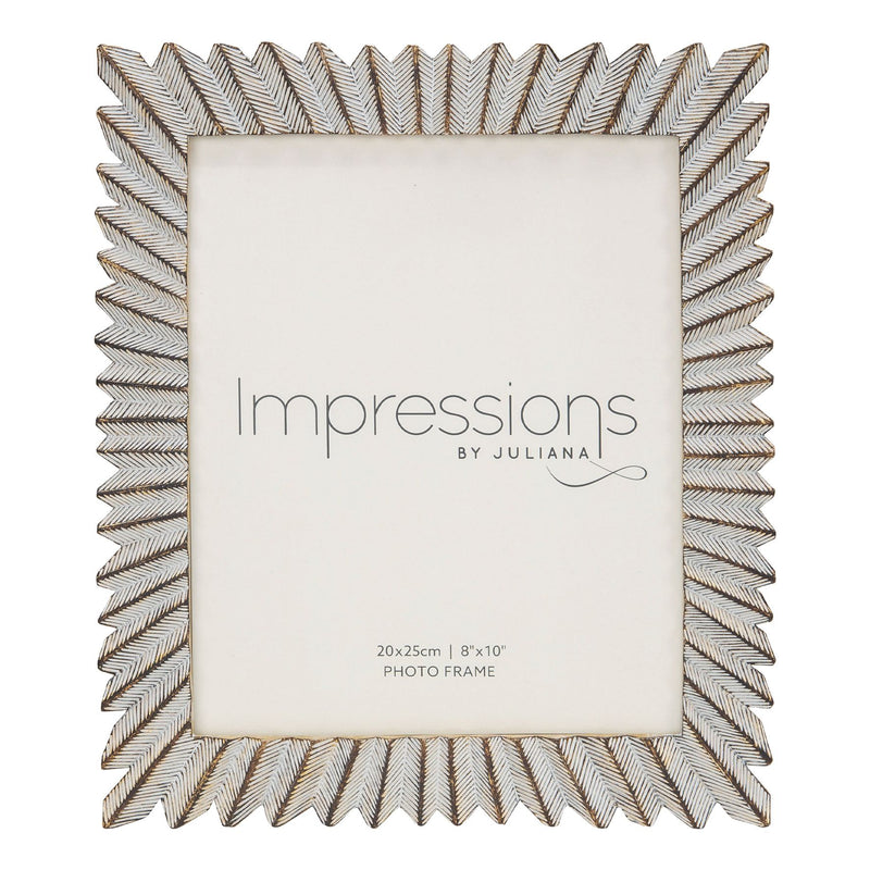 "8"" x 10"" - IMPRESSIONS® Sunburst White & Gold Resin Frame"