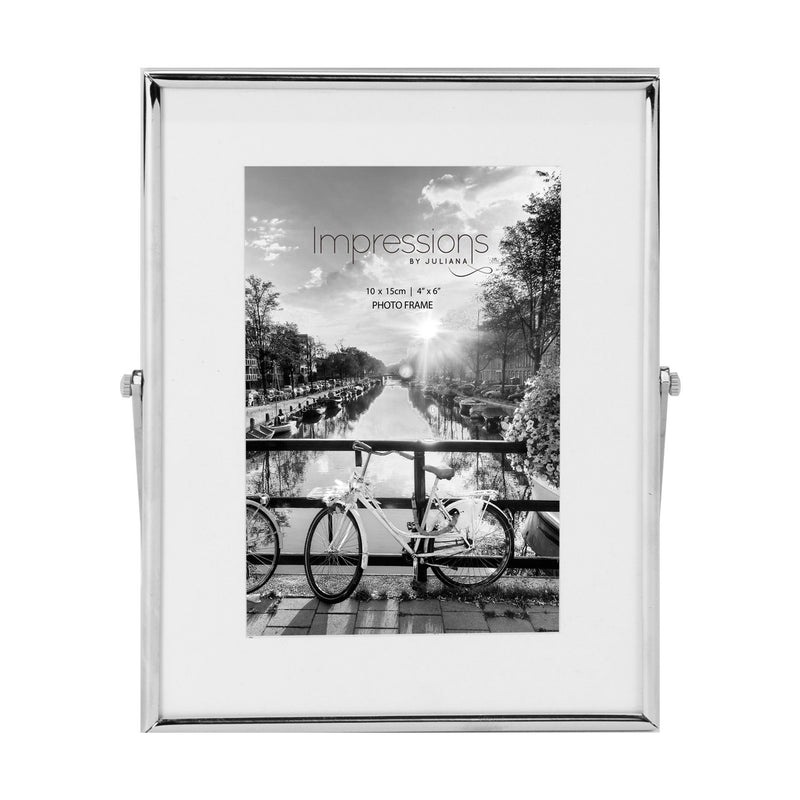 "4"" x 6"" - Impressions Silver Colour Frame White Border"