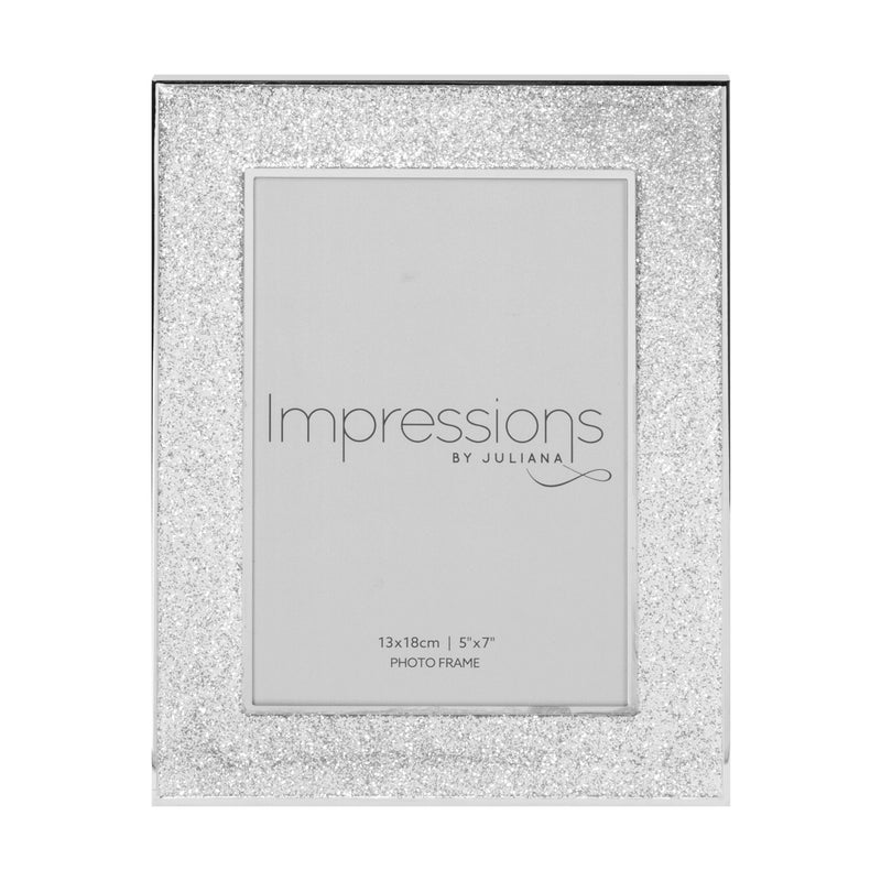 "5"" x 7"" - Impressions Silver Plated Glitter Photo Frame"