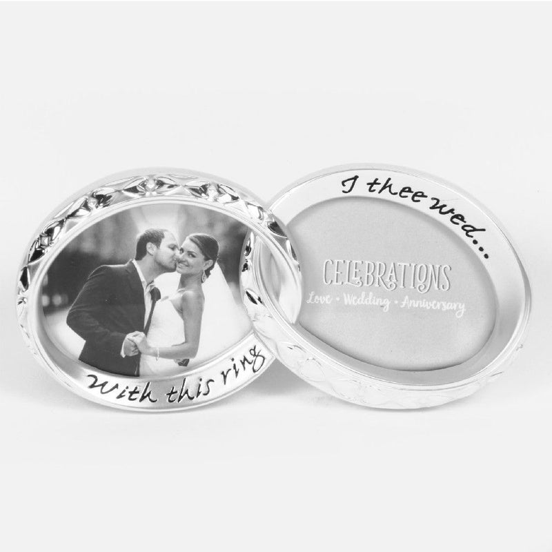 "3.5"" x 3"" - Silverplated Double Wedding Ring Photo Frame"