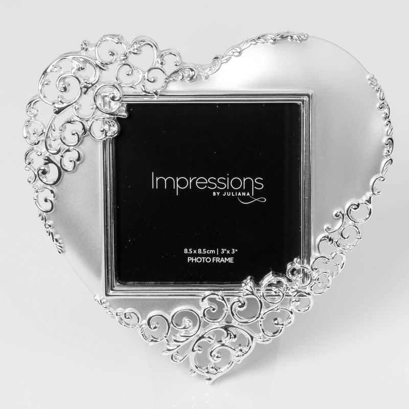 "3"" x 3"" - Impressions Silver Plated Ornate Heart Photo Frame"