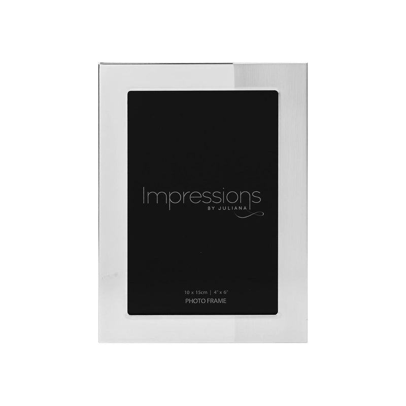 "4"" x 6"" - IMPRESSIONS® Pollished & Satin Silverplated Frame"