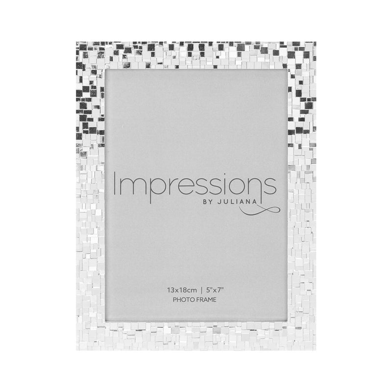 "5"" x 7"" IMPRESSIONS® Mosaic Effect Silver Plated Photo Frame"