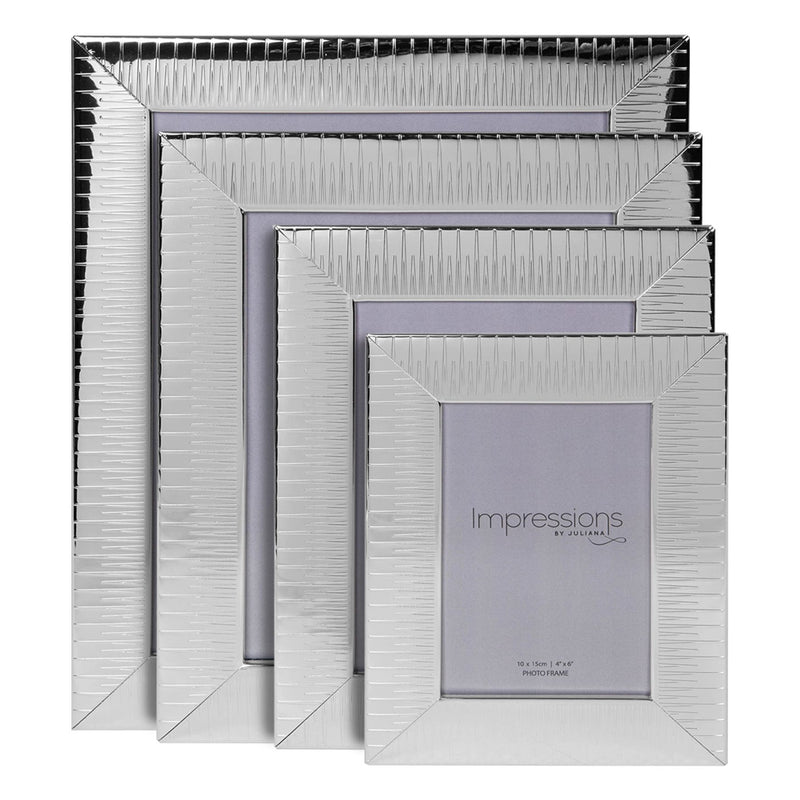 "4"" x 6"" - IMPRESSIONS® Ridged Silver Plated Photo Frame"