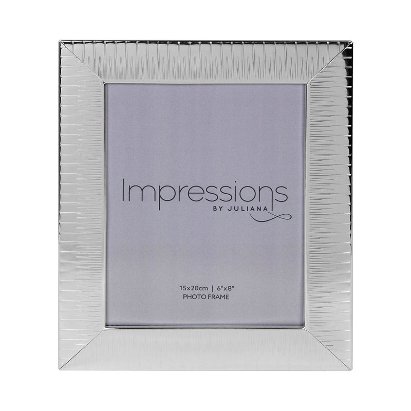 "6"" x 8"" - IMPRESSIONS® Ridged Silver Plated Photo Frame"