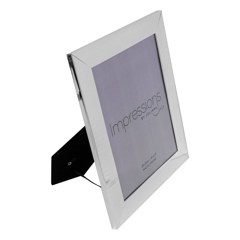 "8"" x 10"" - IMPRESSIONS® Ridged Silver Plated Photo Frame"