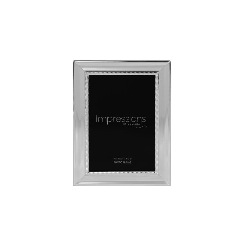 "4"" x 6"" - IMPRESSIONS® Silver Plated Frame with Beaded Edge"
