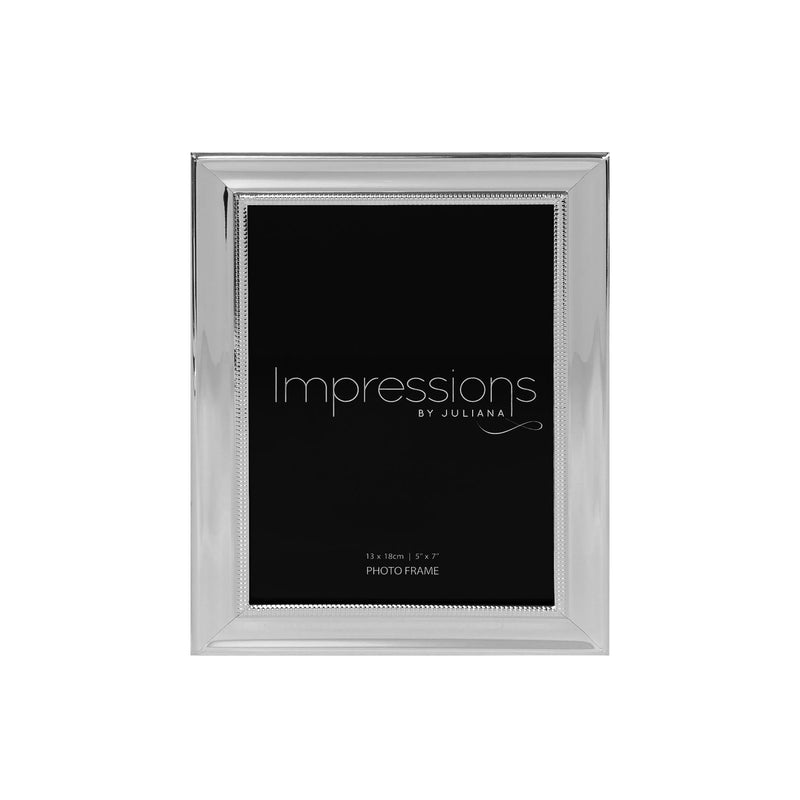 "5"" x 7"" - IMPRESSIONS® Silver Plated Frame with Beaded Edge"