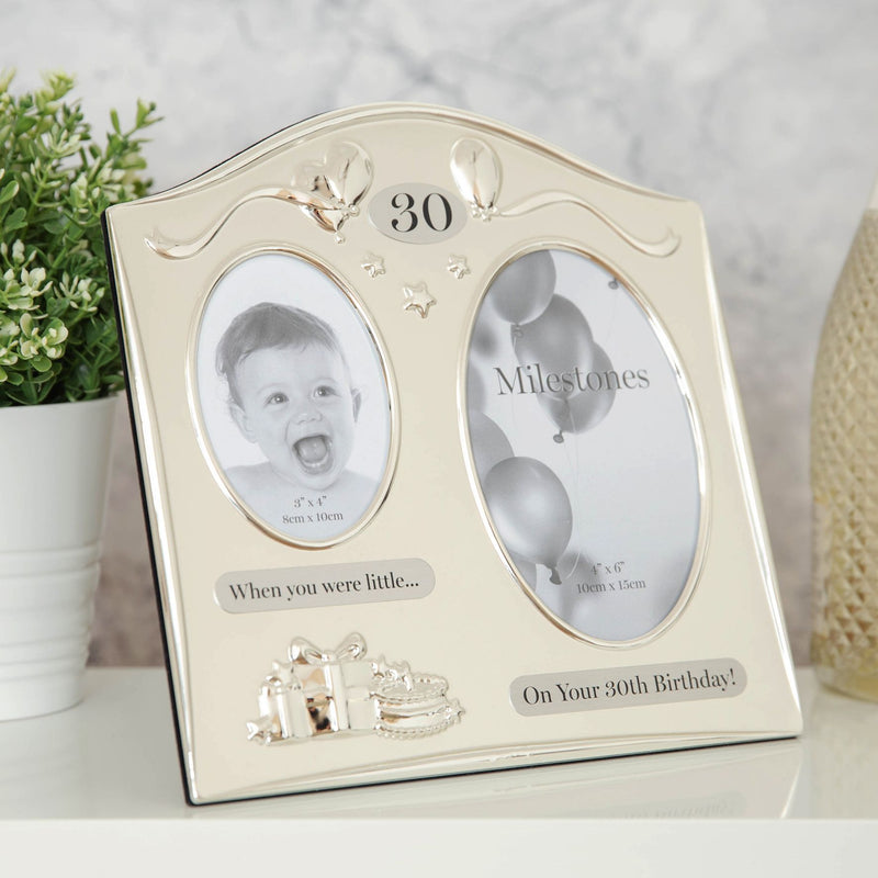 Milestones 2 Tone Silver Plated Double Birthday Frame - 30