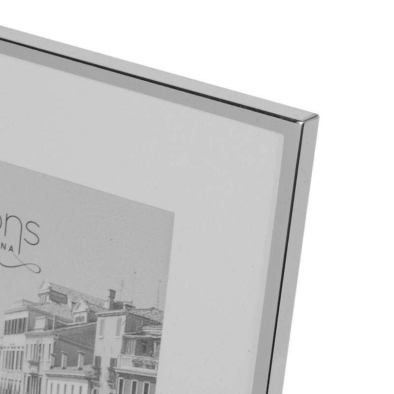 "5"" x 7"" - Impressions Silver Plated White Mount Photo Frame"