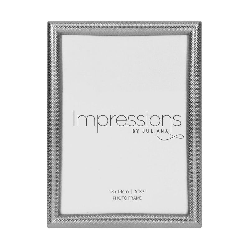 "5"" x 7"" - Impressions Textured Silver Finish Photo Frame"