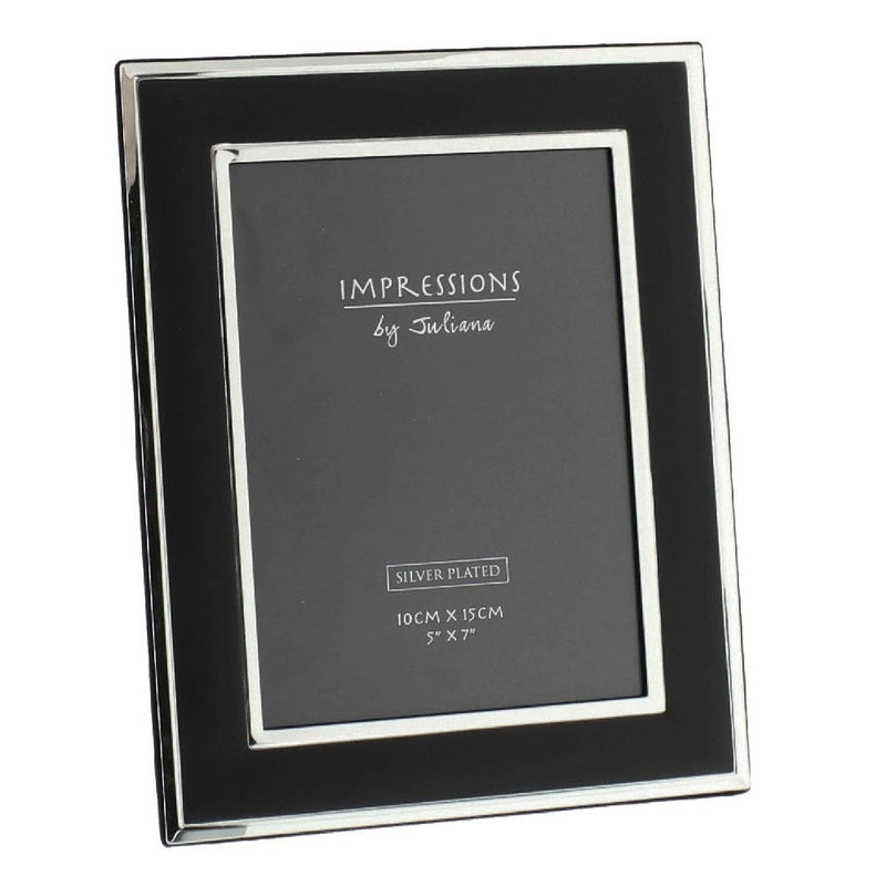 "5"" x 7"" - Impressions Matt Black & Silver Plated Photo Frame"