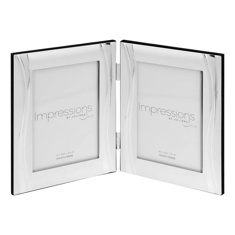 "4""x6""- Impressions Silver Plated Two Tone Wave Double Frame"