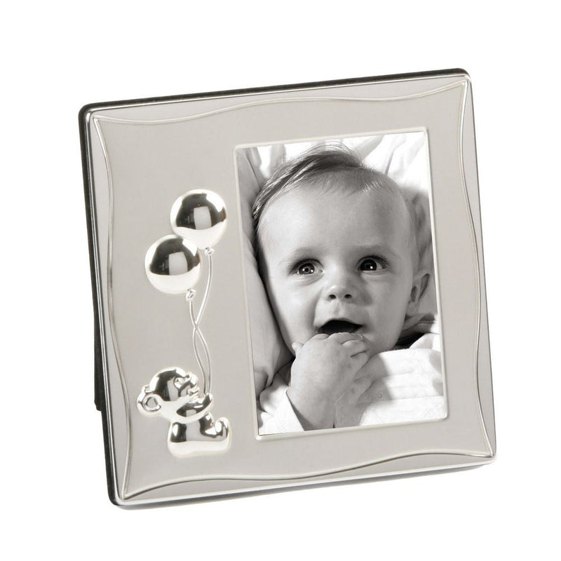 "4"" x 6""  - Silver Plated Teddy Holding Balloons Photo Frame"
