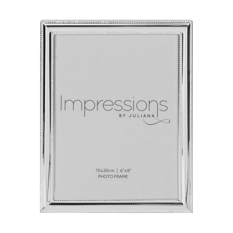 "6"" x 8"" - Impressions Silver Plated Beaded Edge Photo Frame"