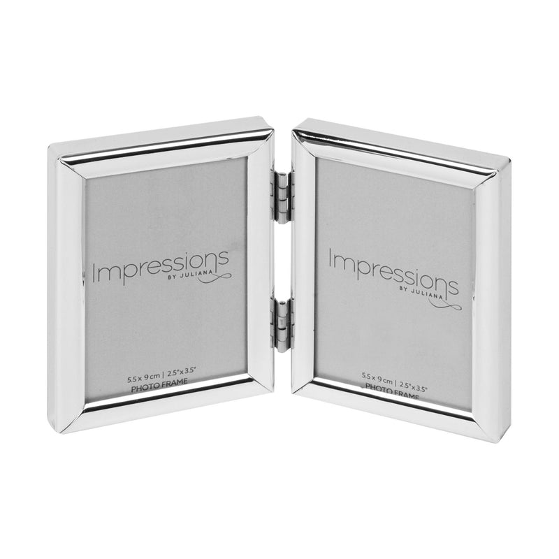 "2.5"" x 3.5"" - Impressions Silver Plated Double Photo Frame"