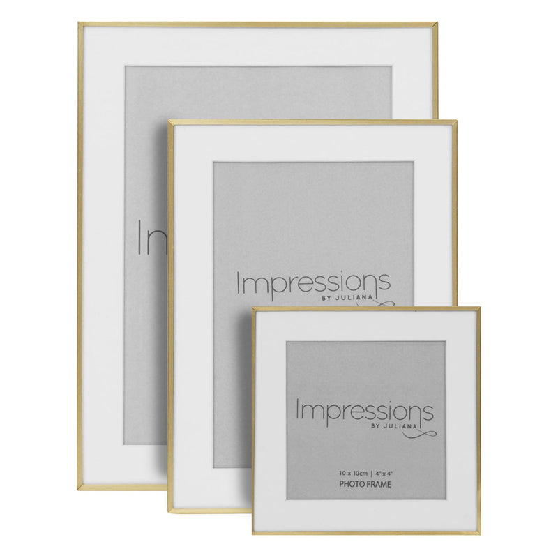 "4"" x 6"" - Impressions Brushed Brass Finish Photo Frame"