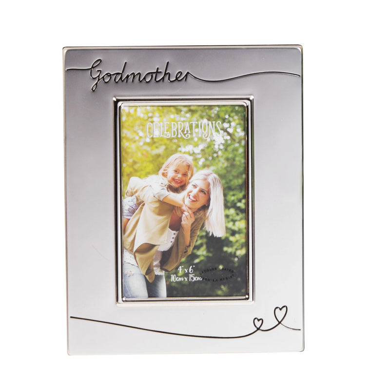 "4"" x 6"" - Celebrations Silver Plated Godmother Photo Frame"