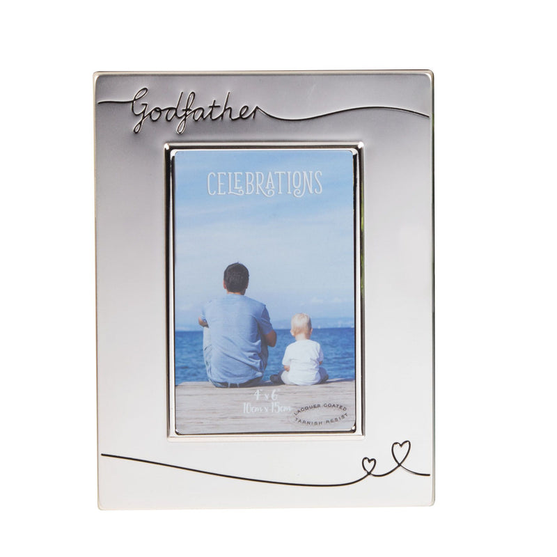 "4"" x 6"" - Celebrations Silver Plated Godfather Photo Frame"