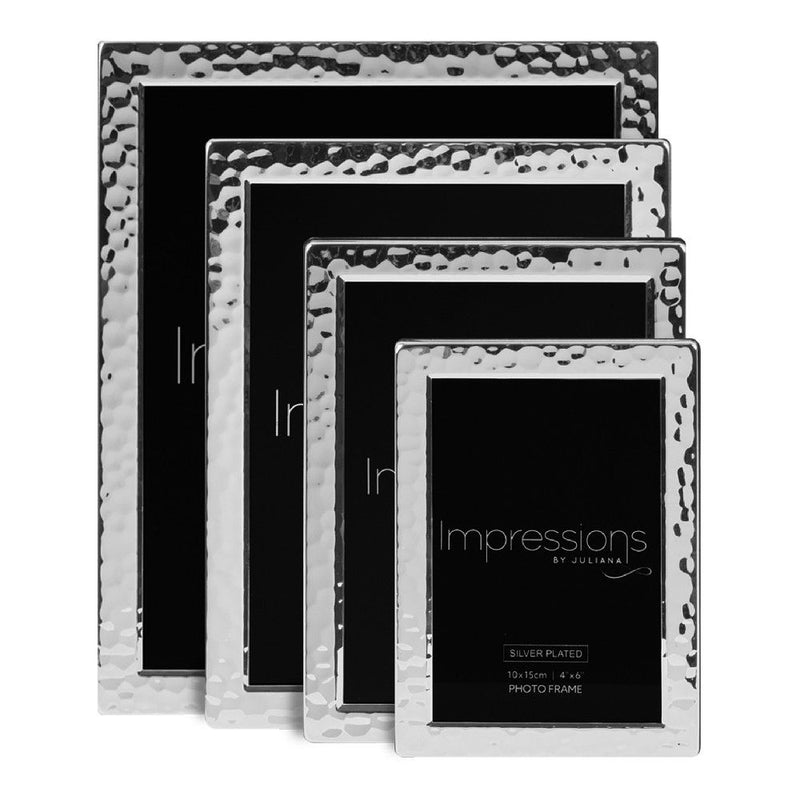 "8"" x 10"" - Impressions Silver Plated Hammered Design Frame"