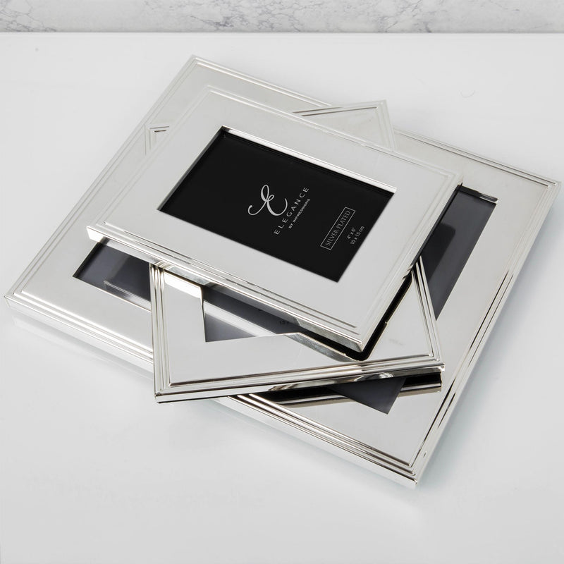 "4"" x 6"" - Elegance Silverplated Rib Edge Frame - Gift Boxed"