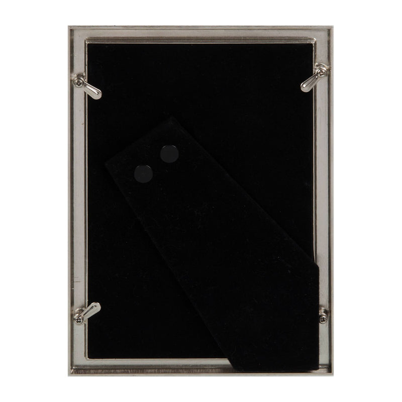 "4"" x 6"" - Elegance Nickel Plated Grey Faux Shagreen Frame"