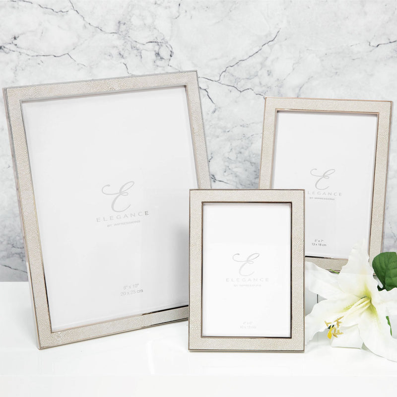 "4"" x 6"" - Elegance Nickel Plated Cream Faux Shagreen Frame"