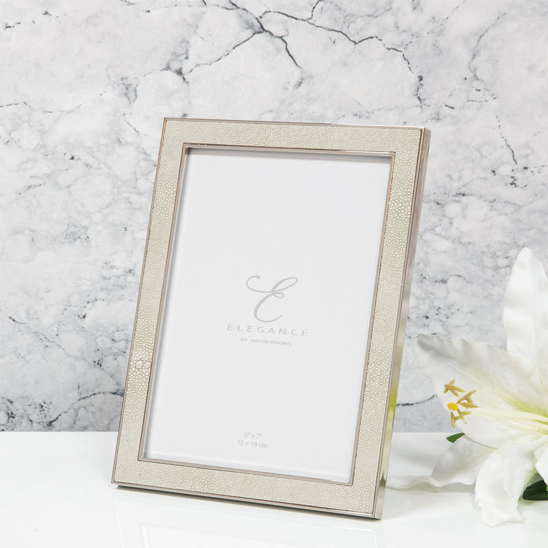 "5"" x 7"" - Elegance Nickel Plated Cream Faux Shagreen Frame"