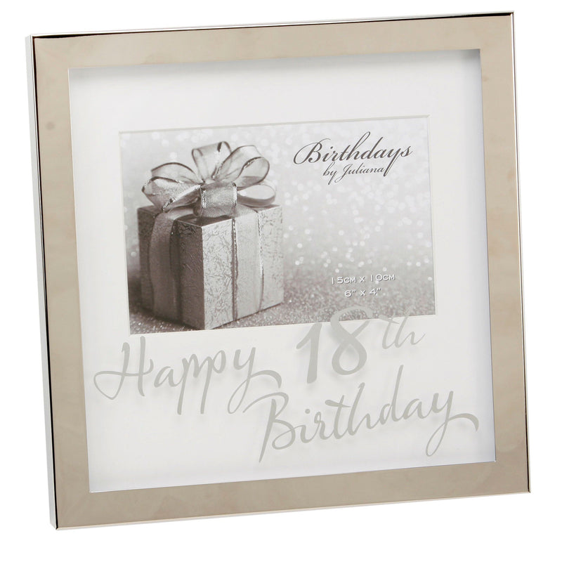"6"" x 4"" - Birthdays by Juliana Silverplated Box Frame - 18th"