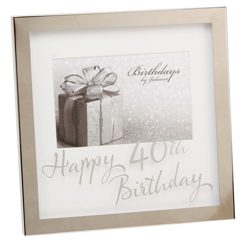 "6"" x 4"" - Birthdays by Juliana Silverplated Box Frame - 40th"