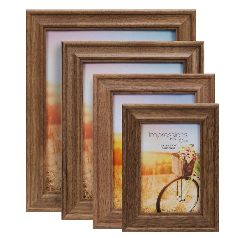 "4"" x 6"" - Natural Walnut Finish Wooden Photo Frame"