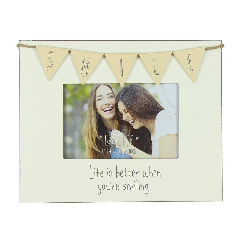 "6"" x 4"" - Love Life Bunting Photo Frame - Smile"