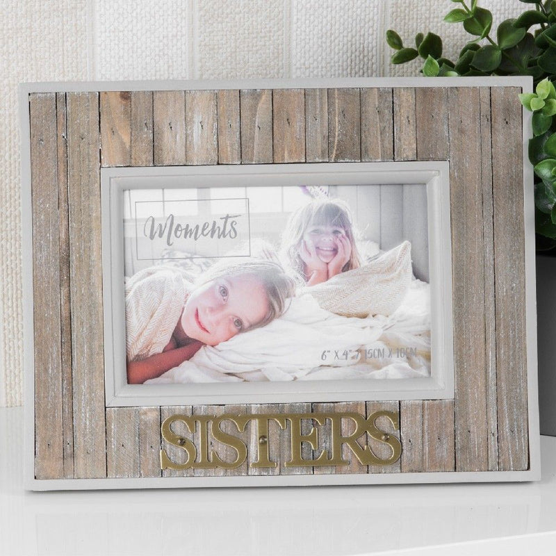 "6"" x 4"" - Moments Wood Plank Photo Frame - Sisters"