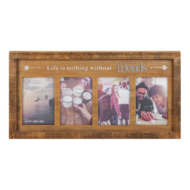 "4"" x 6"" - Moments Natural Wood Multi Frame - Friends"