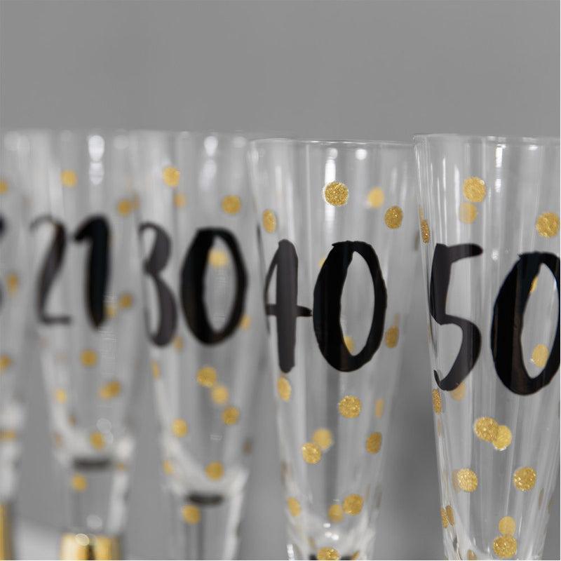 Signography Prosecco Glass with Metallic Gold - 18