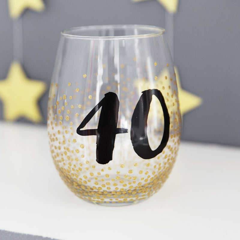 Signography Stemless Wine Glass with Gold Glitter - 40