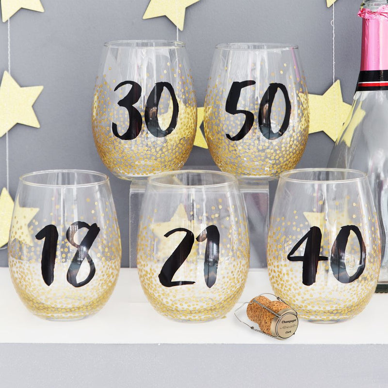 Signography Stemless Wine Glass with Gold Glitter - 50